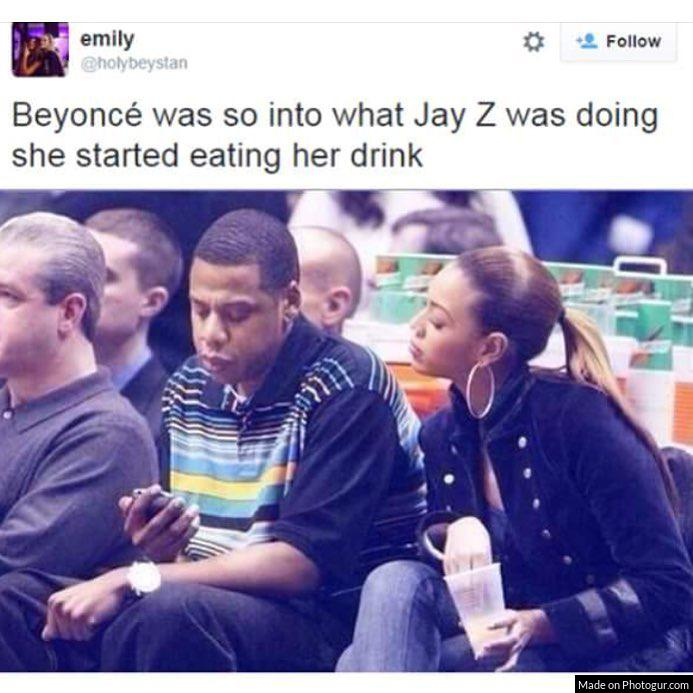 Beyoncé was so into what Jay Z was doing she started eating her drink