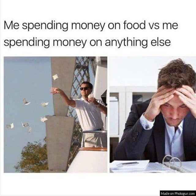 Me spending money on food vs me spending money on anything else